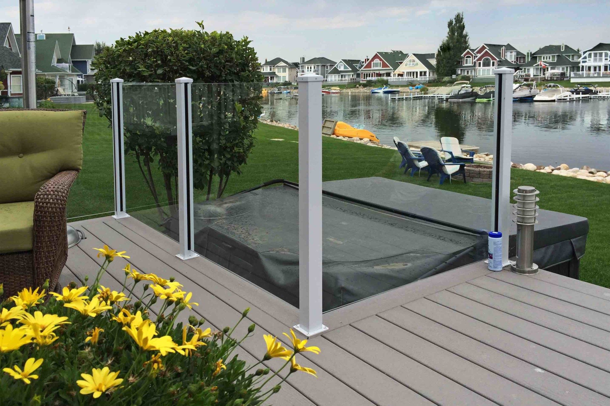Glass railings for decks -  Deksmart Topless Glass Railing