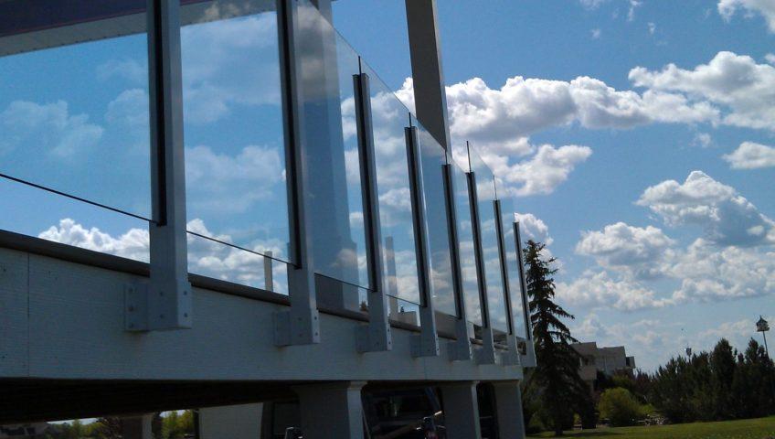 glass railings on a deck